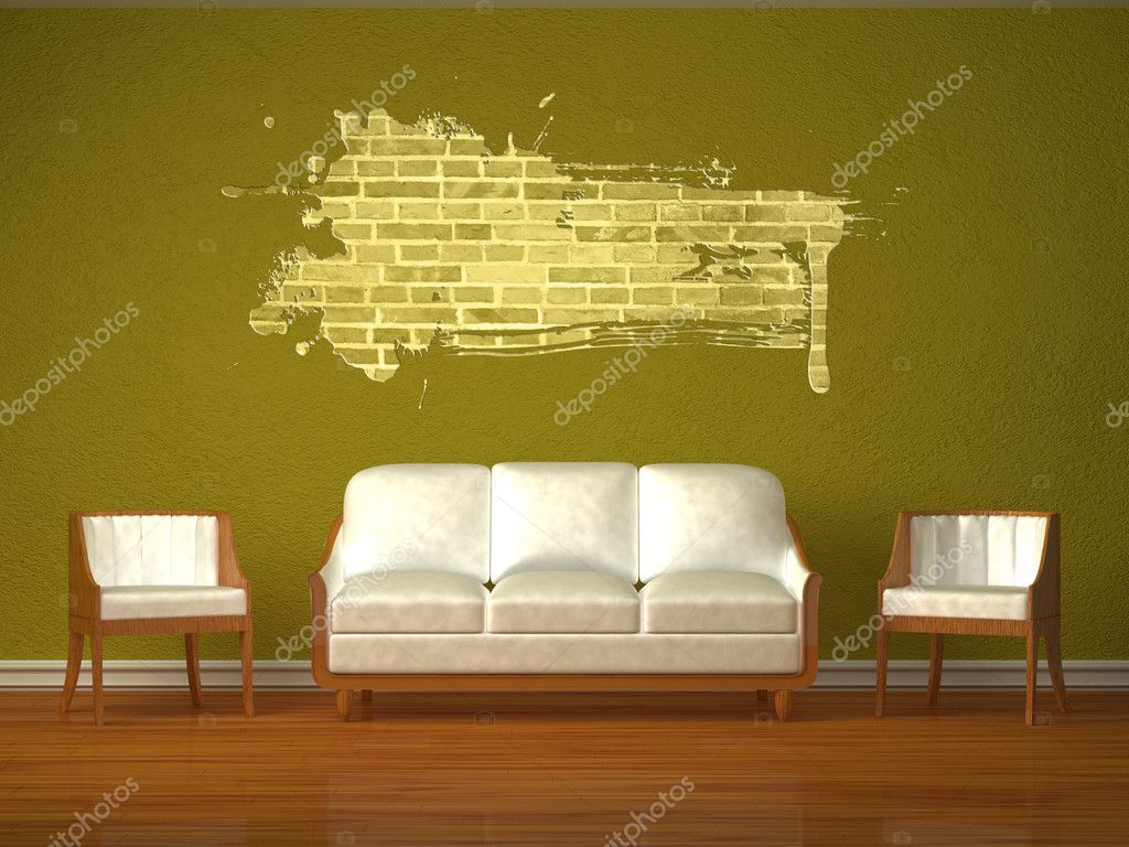 White couch and two chairs with splash hole in green interior  — Stock Photo #6964798