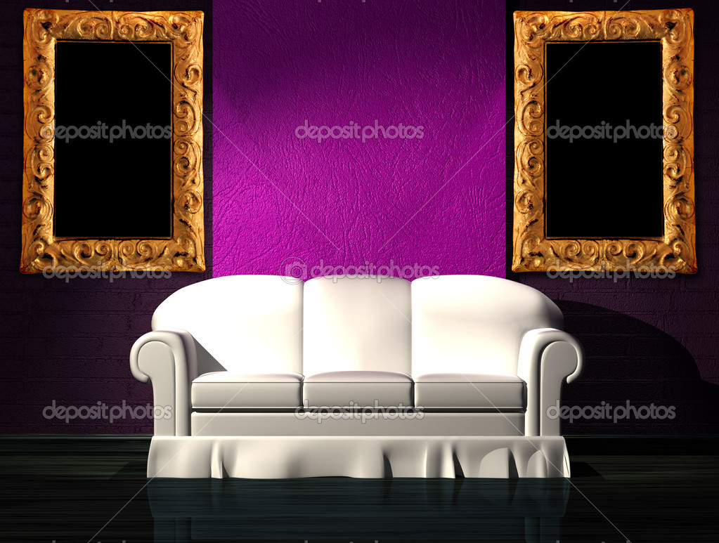 White sofa with purple part of the wall and picture frames in minimalist interior   Stock Photo #6964864