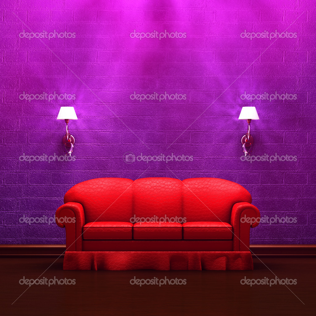 Red couch with sconces in purple minimalist interior  Stock Photo #6964913