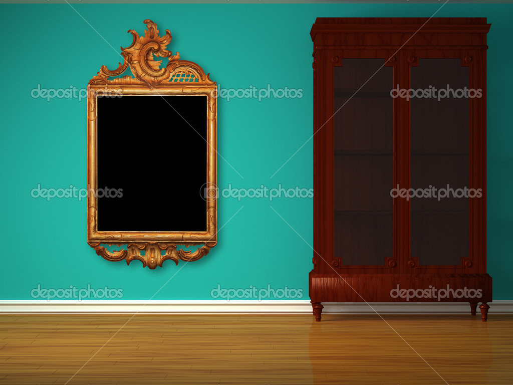 Cupboard with antique frame in minimalist interior   Stock Photo #6964989