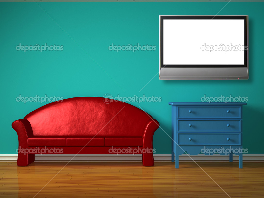 Red sofa with blue bedside table and lcd tv in kids room — Stock Photo #6965075