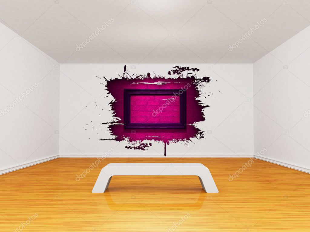 Empty gallery with splash hole and picture frame  — Stock Photo #6965188