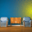 Two chairs with wooden console in blue interior with gradient halftone - Stock Photo