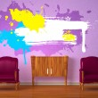 Two luxurious chairs with wooden console and splashes in purple interior - ストック写真