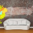 White sofa with splash frame in rusty interior — Stock Photo