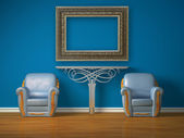 Two luxurious chairs with metallic console and picture frame — Stock Photo