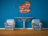 Två lyxiga stolar med metalliskt konsolen och splash hål — Stockfoto