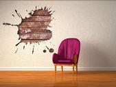 Alone luxurious chair with splash hole in minimalist interior — Stock Photo
