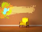 Sam luksusowy fotel z rama rozchlapać minimalistyczne wnętrza — Zdjęcie stockowe