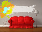 Red sofa with table and stand lamp with splash frame in white minimalist in — Stock Photo