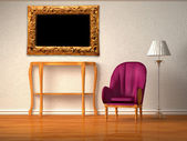 Luxurious chair with wooden console, picture frame and stand lamp in purple — Stock Photo