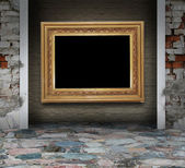 Mosaic grunge interior with picture frame — Stock Photo