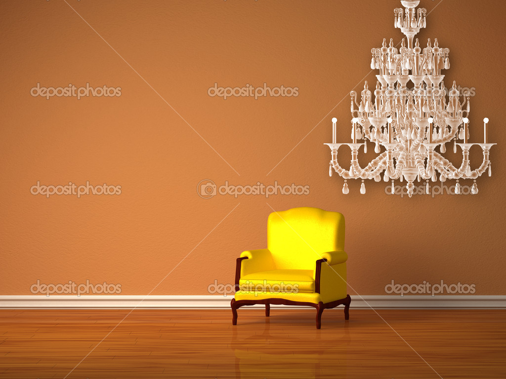 Alone luxurious chair with glass chandelier in minimalist interior  — Stock Photo #7001697
