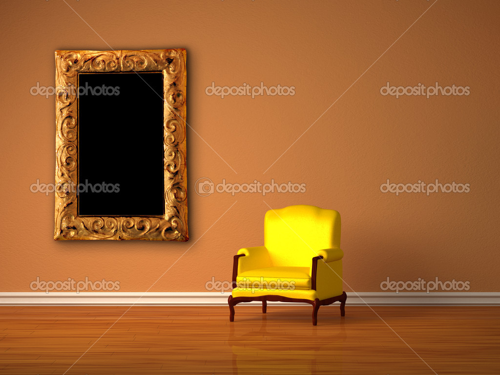 Luxurious chair with modern frame in minimalist interior   Stock Photo #7001706