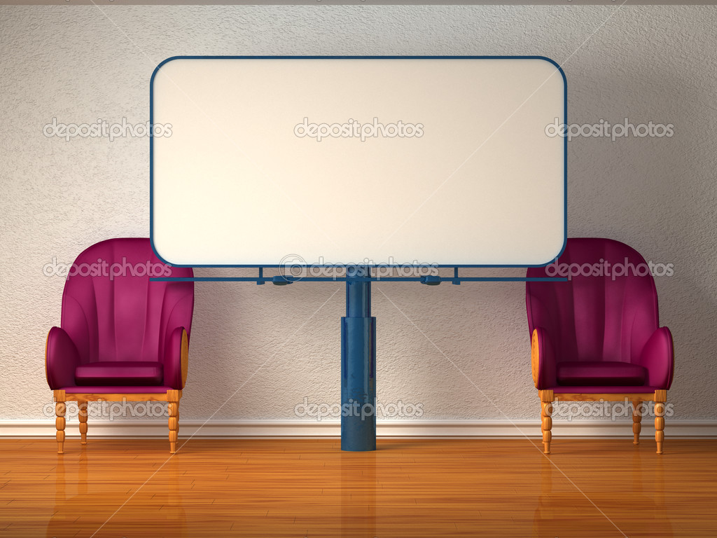 Two luxurious chairs with billboard in minimalist interior  — Stock Photo #7001847