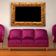 Two luxurious chairs with purple couch and picture frame in minimalist interior — Stock Photo