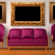 Two luxurious chairs with purple couch and picture frames in minimalist interior — Stock Photo