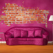 Purple couch with table, standard lamp and splash hole in purple interior — Stock Photo