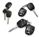 Car keys with remotes on white background — Stock Photo
