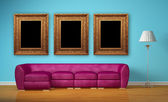 Purple couch with standard lamp and picture frames in minimalist interior — Stok fotoğraf