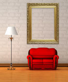 Red couch with standard lamp and empty ornate frame in minimalist interior — Stock Photo