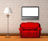 Sofá rojo con una lámpara estándar y lcd tv en interior minimalista — Foto de Stock
