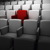 The auditorium with one reserved seat — Stock Photo