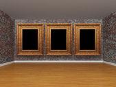 Grunge metallic room with empty frames — Stock Photo