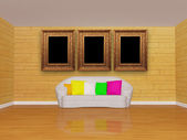 Mosaic room interior with white couch and picture frames — Stock Photo