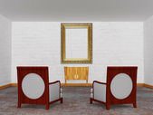 Two luxurious chairs with wooden console and empty ornate frame — Stock Photo
