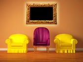 Two yellow chairs with a purple chair and picture frame in the middle — Stock Photo