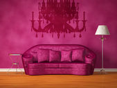 Purple couch with table, lamp and the silhouette of a chandelier — Stock Photo