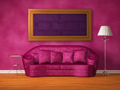 Purple couch with table, standard lamp and frame in purple interior — Stock Photo