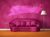 Purple couch with table, standard lamp and splash frame in purple interior — Stock Photo