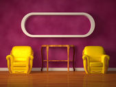 Two chairs with wooden consoleand bookshelve in purple interior — Stock Photo