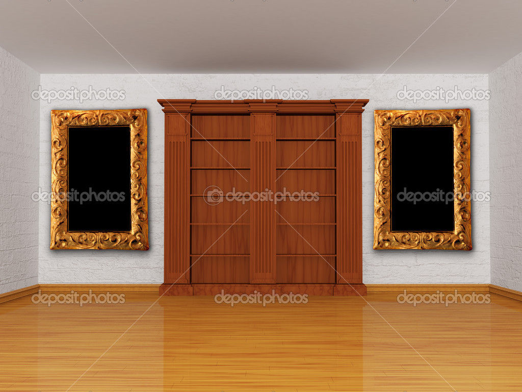 Wooden empty bookshelf with picture frame in minimalist interior  — Stock Photo #7634100