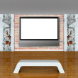 Gallery's hall with bench, columns and lcd tv — Stock Photo