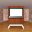 Gallery's hall with bench and lcd tv — Stock Photo #7683678
