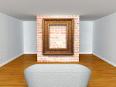 Gallery's hall with couch with ornate frame — Photo