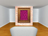 Gallery's hall with couch and valentine's frame — Stockfoto