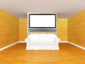 Gallery's hall with sofa and flat tv — Stock Photo