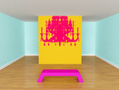 Gallery's hall with bench with silhouette of chandelier — Stock fotografie