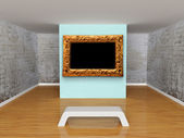 Gallery with bench and ornate frame — Stock Photo
