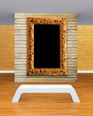 Gallery's hall with bench and picture frame — Fotografia Stock