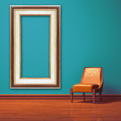 Orange chair with empty frame in blue minimalist interior — Stock Photo