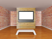 Gallery's hall with bench and lcd tv — Stock Photo