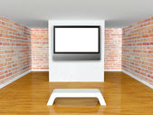 Gallery's hall with bench and flat tv — Stock Photo
