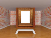 Gallery's hall with bench and ornate frame — Stock Photo