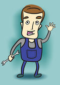 Cartoon mechanic holding a wrench. — Stock Photo