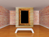 Gallery's hall with bench and picture frame — Foto de Stock